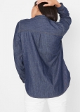 Bluzka dżinsowa z kontrastowymi szwami, długi rękaw